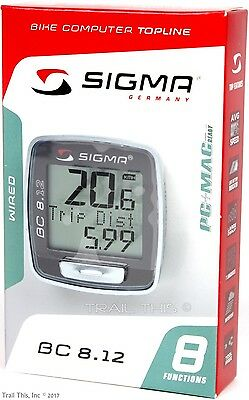 Sigma BC 8.12 WIRED 8-Function Bicycle Computer Speed Distance Upgraded BC5.12