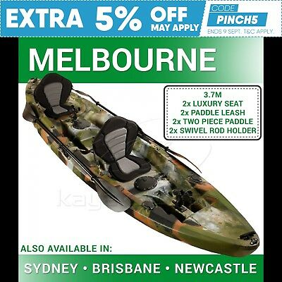 Double Fishing Kayak Tandem 2+1 Two Person Sit on Melbourne Camo (5Yr Warranty)