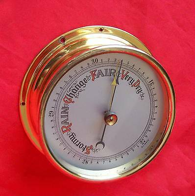 "Vintage 4"" All Brass Case  Wall Barometer"