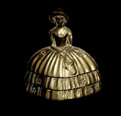 Vintage brass crinoline lady pretty bell in lovely condition 7cm tall