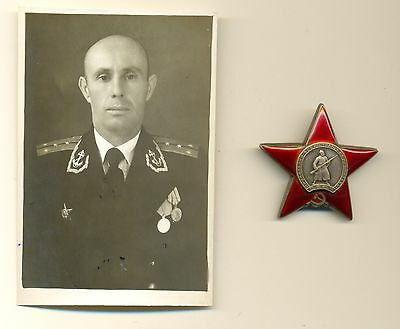 Soviet Medal Order Badge of the  Red Star and  photo Navy officer (1452)