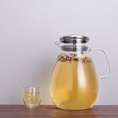 Jug / Pitcher, 1.9L,Glass & Stainless Steel With Lid Water, Drinks, Tea, Juice