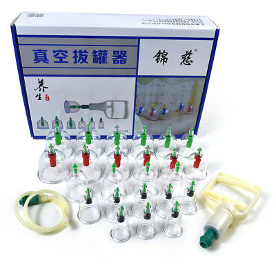 Effective Healthy 24 Cups Medical Vacuum Cupping Suction Therapy Device Set