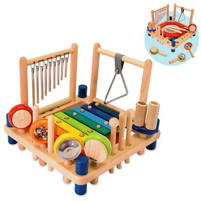 Wooden Melody Mix 10 Musical Instruments Kids Drum Xylophone & Pretend Play Toy