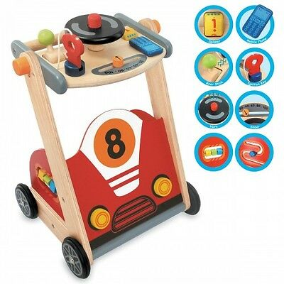 NEW Baby Wooden Racing Walker - Kids Push Along Car Activity Centre I'm Toy Gift