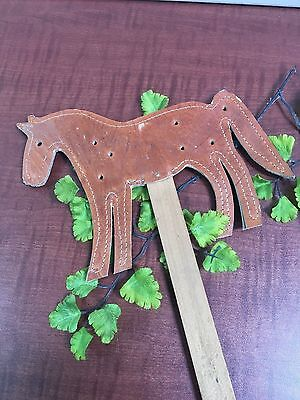 VTG HORSE SHAPE Leather Fly Swatter Hand Crafted Wood Handle Brown 19""