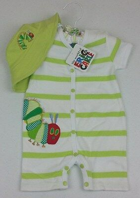 Very Hungry Caterpillar Baby Unisex 2 Piece Romper with Hat - Size: 00 - BNWT