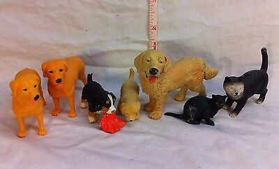 Lot of 7 PVC Dogs Cats Animal Figures Schleich Tree House Kids ACC Bully