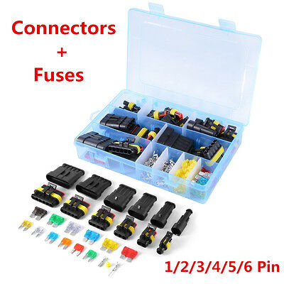 Car Truck Waterproof Electrical Connector Terminal 1/2/3/4/5/6 Pin Way+Fuses Kit