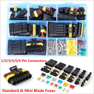 Car Waterproof Electrical Connector Terminal 1/2/3/4/5/6 Pin Way+Blade Fuses Kit
