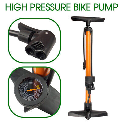 AU High Pressure Bicycle Air Pump Bike Alloy Floor Dual Valve Gauge UP 160 PSI