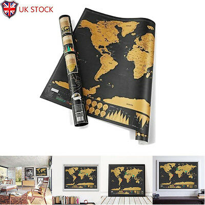 Large Scratch Off Map of the World Poster Wallpaper Personalized Travel Gift