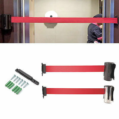 2/3M Stanchion Queue Barrier Wall Mount Crowd Control Belt Retractable 2 styles