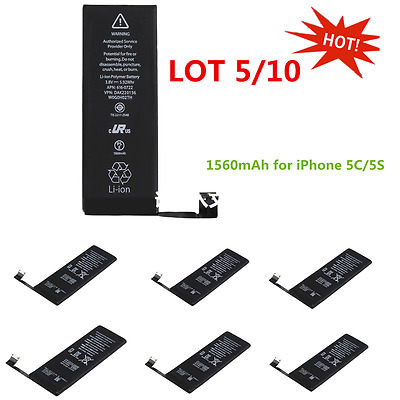 LOT 5/10 1560mAh Li Battery Replacement Part with Flex Cable for iPhone 5S/5C SO