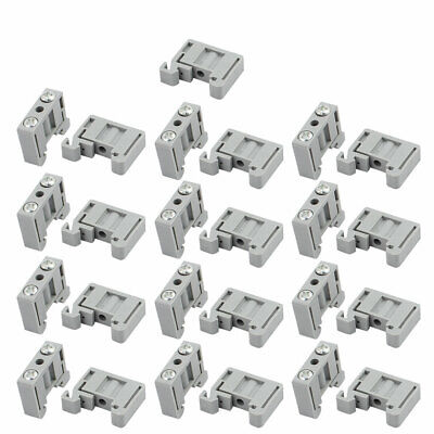 50Pcs 23x20x6mm 15mm DIN Rail End Screw Clamp Terminal Fixed Block Gray