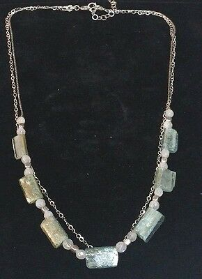 Roman Glass Silver 925 Bluish Authentic Bead Fragments Ancient 200 B.C Necklace