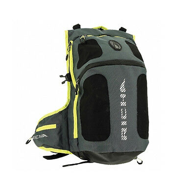 Richa Top Helmet Bag Motorcycle Ruck Sack Back Pack Inc Rain Cover - Grey/Fluo