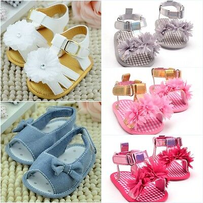 Toddler Baby Summer Princess Sandals Infant Kids Girl Soft Sole Crib Shoes 0-18M