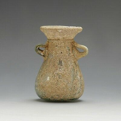 A Roman Pale Green Flask with Applied Handles