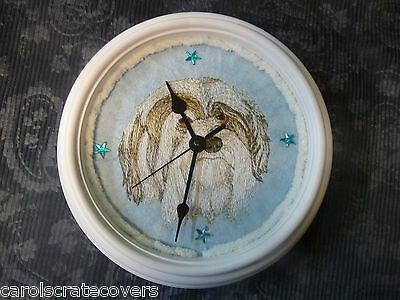 Havanese  Head 8 inch Embroidered Clock Handmade Glass Quartz ONE OF A KIND