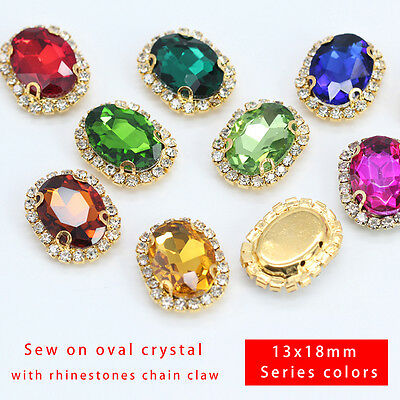 12p 18x13mm Costume Dress Oval crystal glass Rhinestones Applique Sew On Buttons