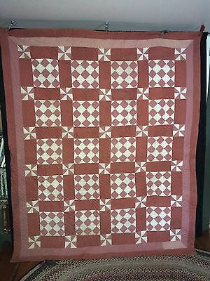 "Antique C1890-1900 Maine Hand Stitched + Quilted Patchwork Quilt  86"" x 73"""