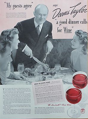 1941  PRINT AD WINES OF CALIFORNIA  Deems Taylor, composer good dinner & wine