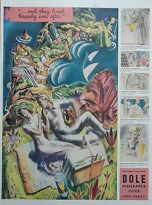 1939 ORIG. PRINT AD DOLE PINEAPPLE JUICE FROM HAWAII signed art work, picnic