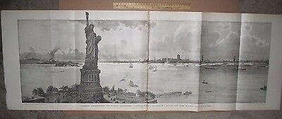 Huge Antique Statue Of Liberty  Print 1886 Harpers Weekly 44 X 16 Rare