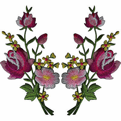 Pair of Flower Embroidered Patches Iron Sew On Embroidery Patch Arts and Crafts
