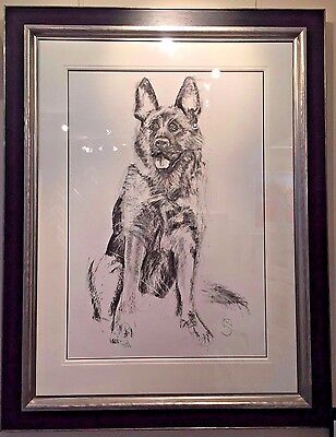 Sitting German Shepherd by April Shepherd, Original Charcoal, Alsation, Dog