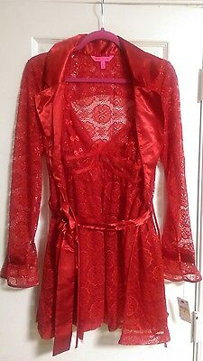 Betsey Johnson red lace satin bow robe and babydoll nightie lingerie set NWT LG