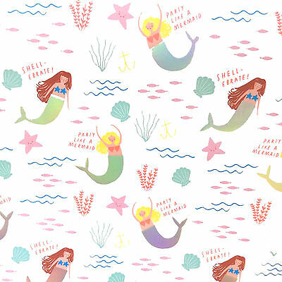 Mermaid Wrapping Paper Luxury Gift Wrap Gorgeous Quality Contemporary Cute Fun