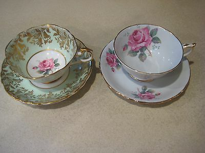 2 Vintage Paragon The Queen Fine Bone China England Tea/coffee Cups And Saucers