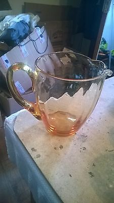 Amber  Pressed Glass? Jug 6 Inches Tall