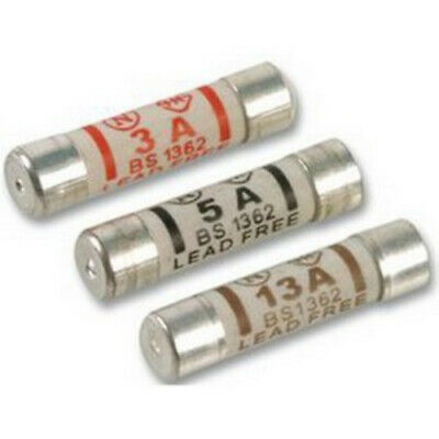 6 Piece Mixed Replacement Cartridge Fuses - Domestic Plug Top Mains 3A 5A 13A