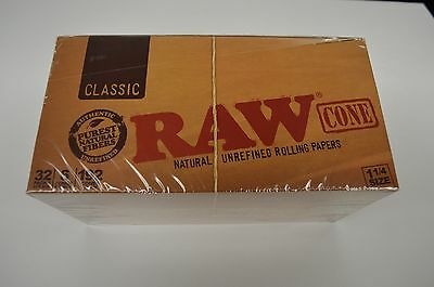 "100% Authentic Raw Classic 1.25""  Pre Rolled 32Ct Cones Total 192 Per Box"
