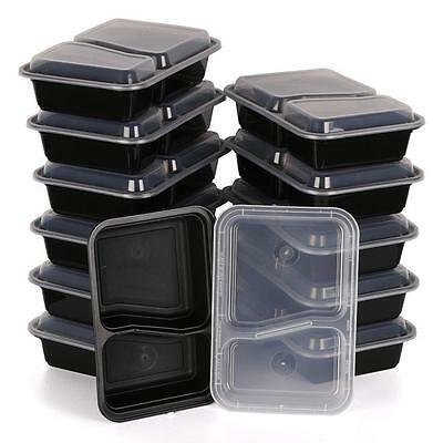 10x Microwave Safe Stackable Reusable 2 Compartment Meal Containers Food Storage