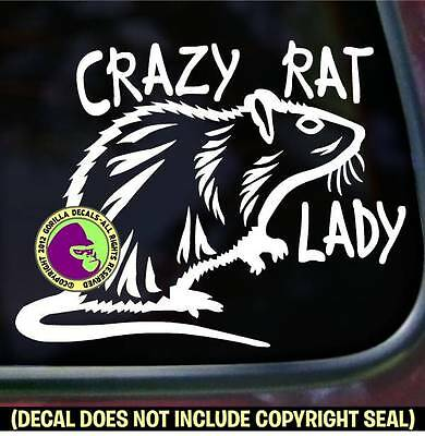 CRAZY RAT LADY Pet Love Rodent Vinyl Decal Sticker Car Window Wall Laptop Sign