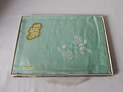 Lovely Vintage Irish Linen Tray Cloth with Very Pretty Embroidery VGC