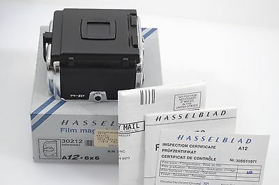 MINT BOXED HASSELBLAD A12 CHROME FILM BACK 30212 120 A12 6x6, w/INSTRUCTIONS