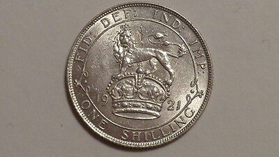 1921 Shilling.George V. Lustrous High Grade.Well Struck. British. Scarce as such