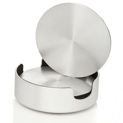 """6 Round Stainless Steel Coaster with Metal Holder Foamy bottom 4"""" Diameter"""