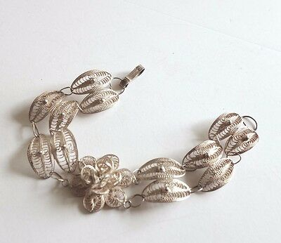 "Antique Art Deco Sterling Silver Filigree Floral Bracelet 7.5"" Hallmark"