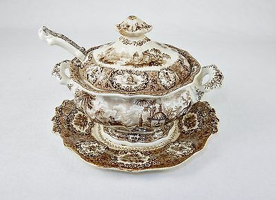 Antique Porcelain Gravy/Sauce Tureen w/Lid & Underplate,  Circa 1830s, Ridgeways