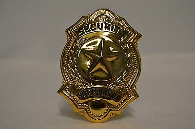 Obsolete Security SUPERVISOR  Badge Gold Tone Star 2.5""