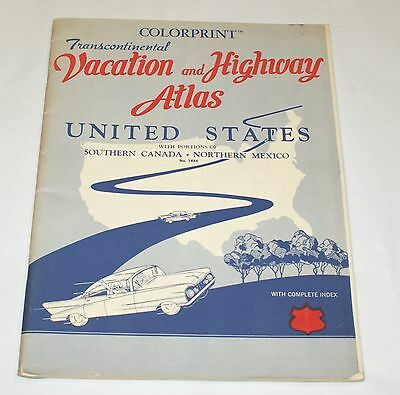 Colorprint Transcontinental Vacation & Highway Atlas United States Pictures 1950