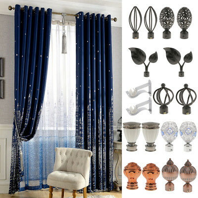 2Pcs Window Curtain Rod End Drapery Pole Rail Decorative Heads 9 Styles Pick
