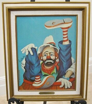"Vintage 1977 Red Skelton ""RODEO"" Clown Oil Painting Print On Canvas Signed"