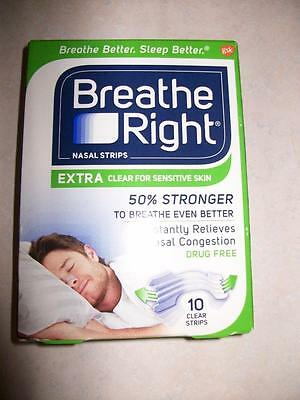 Breathe Right Nasal Strips 10 Extra Clear for Sensitive Skin Sealed Box